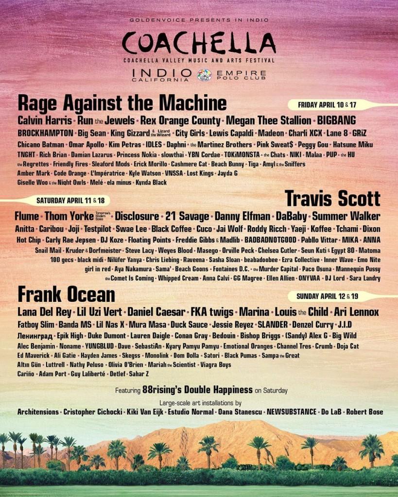 Coachella 2020: su line up de artistas confirmados